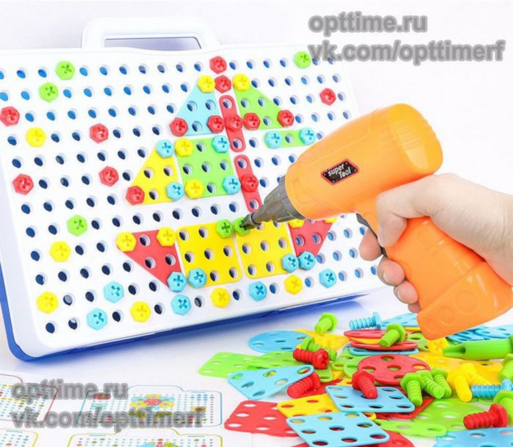 Конструктор мозаика с шуруповертом 151 деталь оптом - 1